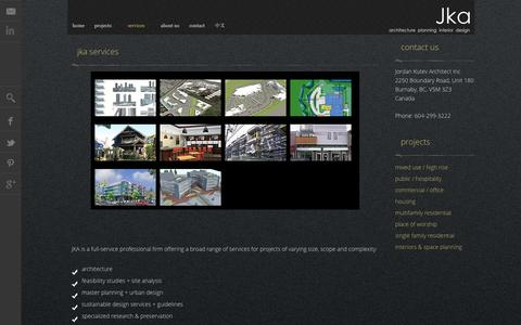 Screenshot of Services Page jka.cc - Jordan Kutev Architect Profile | Architect Vancouver, BC - captured Oct. 27, 2014