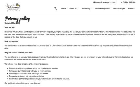 Screenshot of Privacy Page beserved.co.uk - Privacy policy | Beserved % - captured Oct. 5, 2018