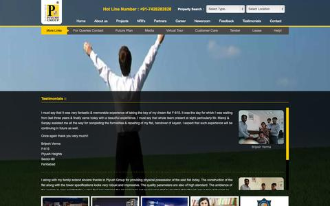 Screenshot of Testimonials Page piyushgroup.com - Piyush Group :: The Essence of Life - captured Sept. 29, 2015