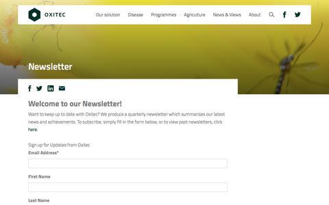 Screenshot of Signup Page oxitec.com - Newsletter   Oxitec - captured Dec. 6, 2016