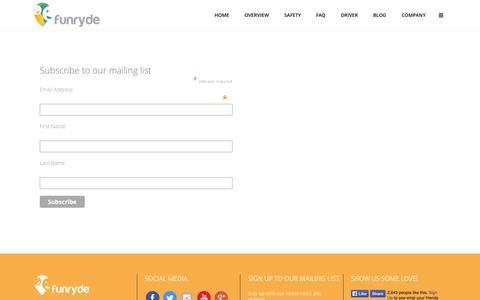 Screenshot of Signup Page funryde.com - Funryde     Newsletter Signup - captured Sept. 22, 2014