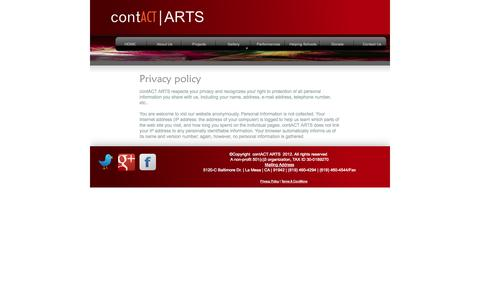 Screenshot of Privacy Page contactarts.org - Privacy Policy - captured Oct. 3, 2014
