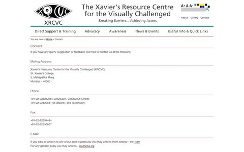 Screenshot of Contact Page xrcvc.org - Xavier's Resource Center for the Visually Challenged - captured Feb. 4, 2016