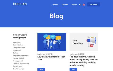Screenshot of Blog ceridian.com - Human Capital Management | Blog | Ceridian - captured Sept. 27, 2018