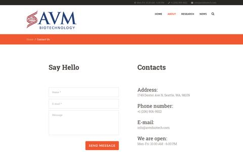 Screenshot of Contact Page avmbiotech.com - Contact Us - AVM Biotechnology - captured Nov. 20, 2016