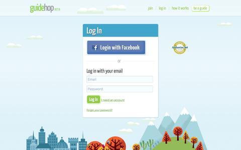 Screenshot of Login Page guidehop.com - Login to GuideHop - captured Sept. 30, 2014