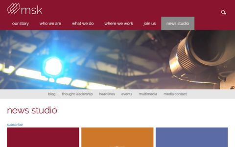Screenshot of Press Page msk.com - news studio - captured Sept. 22, 2018