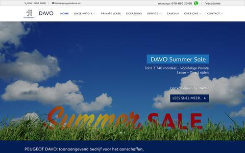 Screenshot of Home Page peugeotdavo.nl - Welkom bij Peugeot DAVO. Uw dealer voor groot Den Haag. - captured July 17, 2018