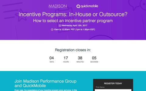 Screenshot of Landing Page quickmobile.com - Incentive Programs: In-House or Outsource? - captured April 7, 2017