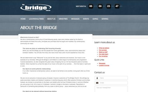 Screenshot of About Page thebridgechurch.org - About The Bridge  |  The Bridge Church | Building bridges to redeem people as Jesus works in us and with us and through us - captured Oct. 26, 2014