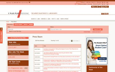 Screenshot of Press Page cpluspluscrossing.com - CPlusPlusCrossing.com News, Press Room, Press Releases | CPlusPlusCrossing.com - captured July 14, 2018