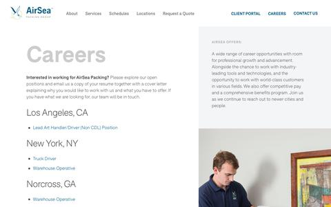 Screenshot of Jobs Page airseapacking.com - Careers in Inventory Management, Freight Shipping, Art Handling | AirSea - captured Sept. 7, 2019