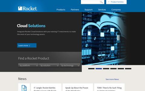 Screenshot of Home Page rocketsoftware.com - Rocket Software - captured July 11, 2014