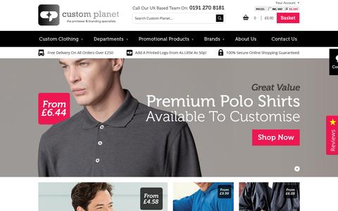 Screenshot of Home Page customplanet.co.uk - Custom Planet Ltd: Custom Planet Ltd offer a wide range of Men's and Women's Printed & Embroidery Clothing. - captured Sept. 17, 2015