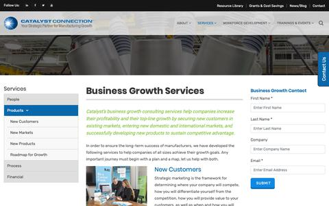 Screenshot of Products Page catalystconnection.org - Business Growth for Manufacturers | Business Growth Strategies | PA - captured Nov. 4, 2018