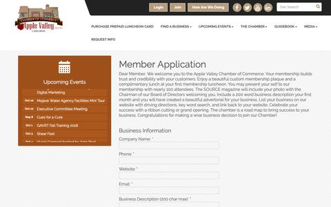 Screenshot of Signup Page avchamber.org - Member - Apple Valley Chamber of Commerce, CA - captured Oct. 3, 2018
