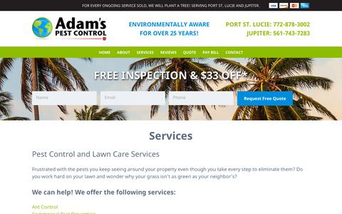 Screenshot of Services Page adamspest.biz - Pest Control and Lawn Care Services - captured Oct. 3, 2018
