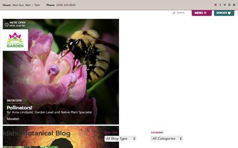 Screenshot of Blog idahobotanicalgarden.org - Blog - Idaho Botanical Garden - captured Sept. 11, 2018
