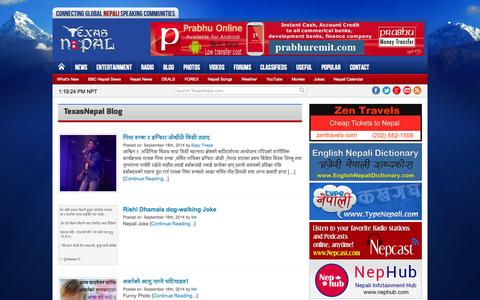 Screenshot of Blog texasnepal.com - TexasNepal Blog - Connecting Global Nepali Speaking Communities - captured Sept. 22, 2014