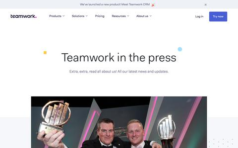 Screenshot of Press Page teamwork.com - Teamwork in the press - captured Nov. 7, 2019