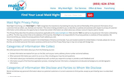 Screenshot of Privacy Page maidright.com - Maid Right Privacy Policy | MaidRight - Corporate - captured Nov. 19, 2016