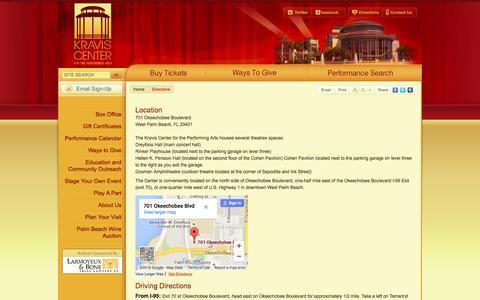 Screenshot of Maps & Directions Page kravis.org - Kravis Center for the Performing Arts | Official Website - Directions - captured Jan. 14, 2016