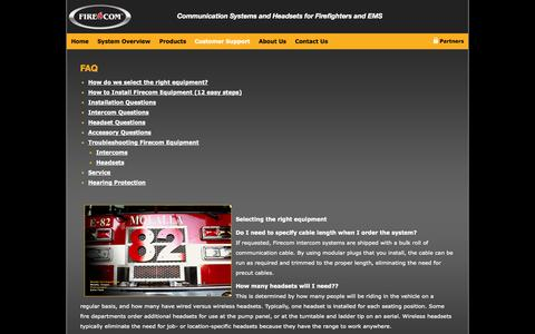 Screenshot of FAQ Page firecom.com - FAQ | Firecom - captured Sept. 30, 2014