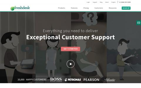 Screenshot of Home Page freshdesk.com - Freshdesk | Online customer support and helpdesk solution with a spoonful of freshness - captured July 17, 2014