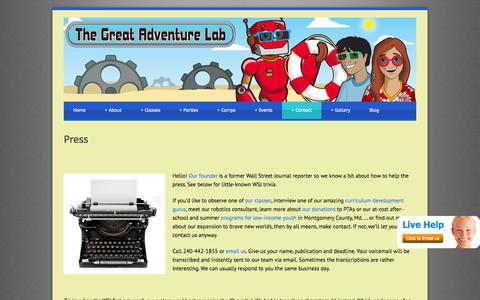 Screenshot of Press Page thegreatadventurelab.com - Press - The Great Adventure Lab - captured Oct. 4, 2014