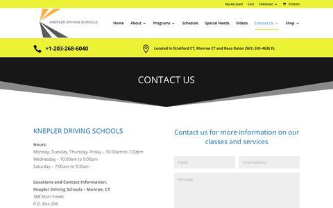 Screenshot of Contact Page kneplerdrivingschools.com - Contact Us   Knepler Driving Schools - captured Nov. 6, 2018