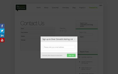 Screenshot of Contact Page thegreeninterview.com - Contact Us | The Green Interview - captured Dec. 23, 2016