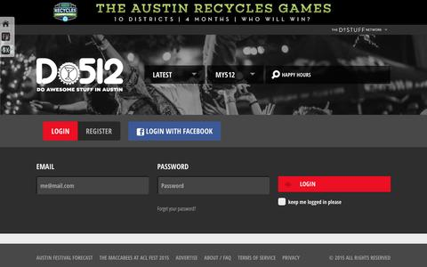 Screenshot of Login Page do512.com - Austin Events, Music, Art, Drink Specials & More - captured Jan. 7, 2016