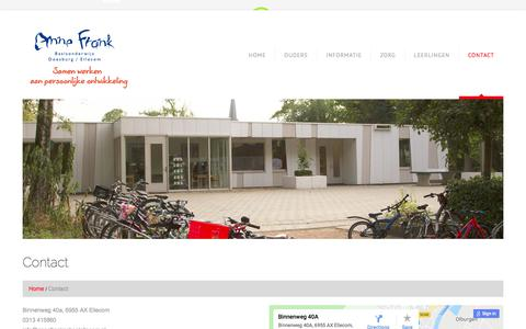 Screenshot of Contact Page annefrankschoolellecom.nl - Contact  |  Annefrank school ellecom - captured March 3, 2018