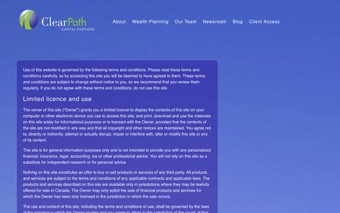 Screenshot of Terms Page clearpathcapital.com - Legal, privacy, copyright and trademark information - captured Oct. 2, 2014