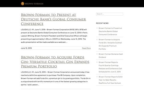 Screenshot of Press Page brown-forman.com - News - Brown-Forman - captured June 12, 2019