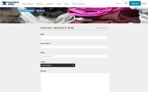 Screenshot of Contact Page makersrow.com - Contact Us | Maker's Row - captured Nov. 10, 2018