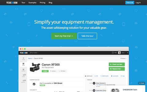 Screenshot of Home Page cheqroom.com - Inventory management software for valuable equipment - captured Dec. 5, 2015