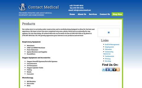 Screenshot of Products Page contactmed.net - Products | Contact Medical - captured Oct. 2, 2014