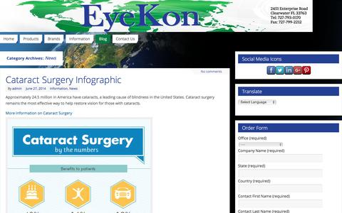 Screenshot of Press Page eyekonmedical.com - News | - captured Feb. 1, 2016
