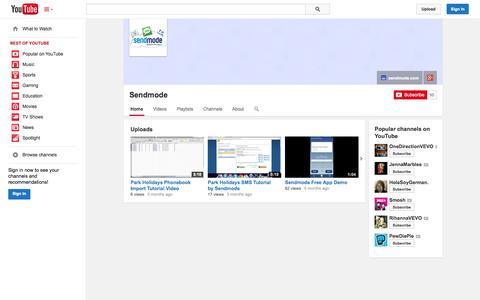 Screenshot of YouTube Page youtube.com - Sendmode  - YouTube - captured Oct. 26, 2014