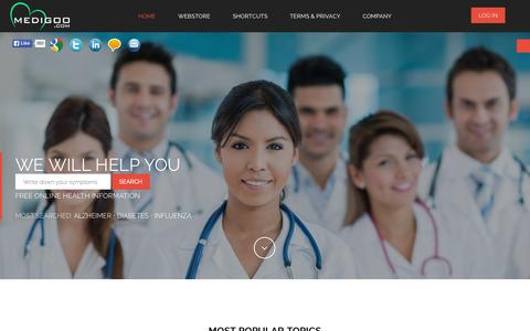 Screenshot of Home Page medigoo.com - Home - MediGoo - Health Info & Home Tests - captured Sept. 12, 2015