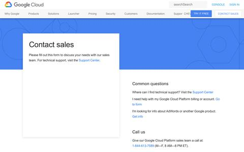 Screenshot of Contact Page google.com - Contact Us  |  Google Cloud - captured July 7, 2018