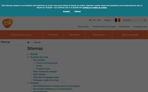 Screenshot of Site Map Page gsk.com - Sitemap | GSK Belgium || Our research activities,job opportunities, our medicines & vaccines - captured Nov. 20, 2018
