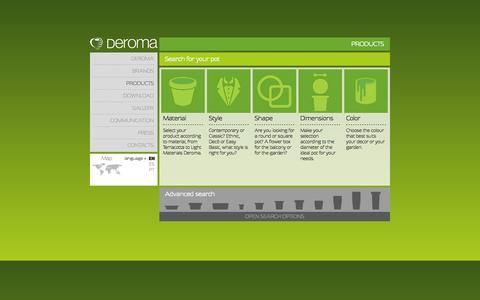 Screenshot of Products Page deroma.com - DEROMA - captured Oct. 5, 2014