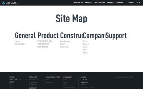 Screenshot of Site Map Page skycatch.com - Skycatch Inc. - Site Map - captured March 30, 2016