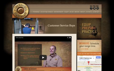 Screenshot of Support Page centennialgunclub.com - Centennial Gun Club customer service representatives - captured Sept. 29, 2014