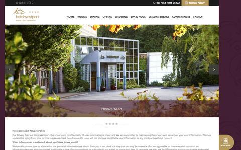 Screenshot of Privacy Page hotelwestport.ie captured Dec. 12, 2015