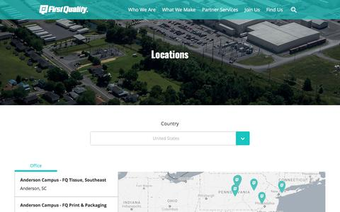 Screenshot of Locations Page firstquality.com - First Quality | Locations - captured Oct. 13, 2017