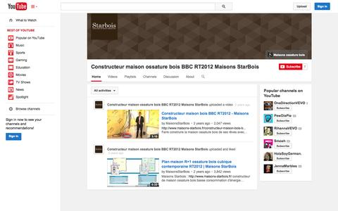 Screenshot of YouTube Page youtube.com - Constructeur maison ossature bois BBC RT2012 Maisons StarBois  - YouTube - captured Oct. 23, 2014