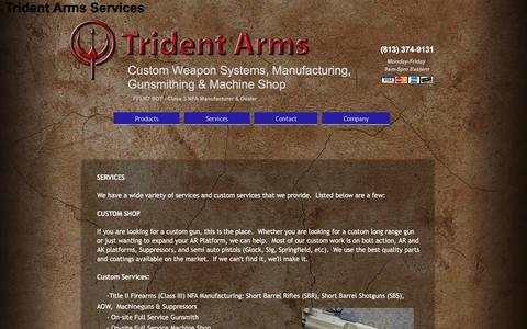 Screenshot of Services Page tridentarms.us - Trident Arms Services - captured Nov. 9, 2017